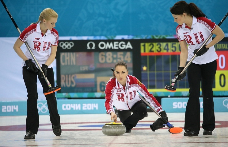 Russian curlers during match against China