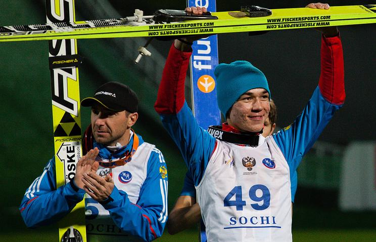 Russian ski jumper Ilmir Khazetdinov (R)