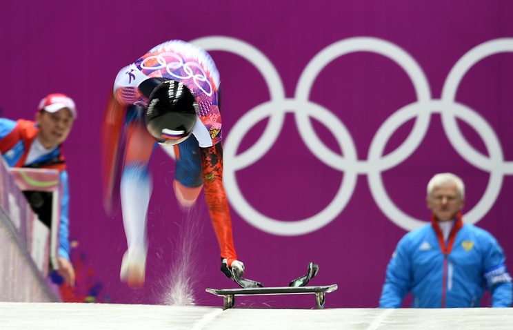 Alexander Tretyakov of Russia starting during the Men's Skeleton final run