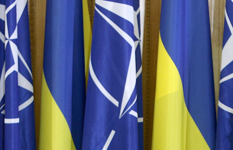 Flags of Ukraine and NATO (archive)