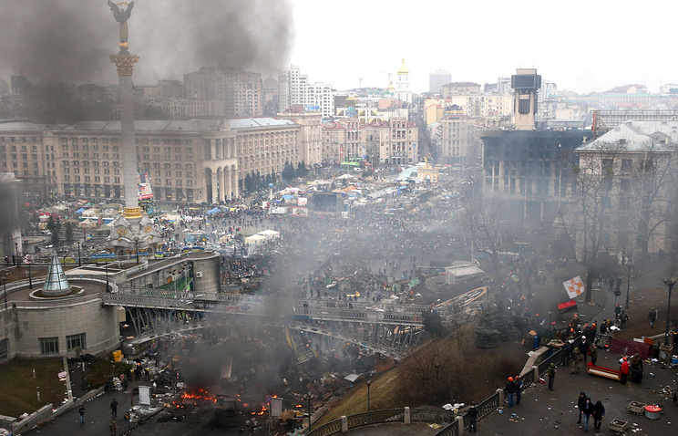 Kiev's Independance square during the clashes in February