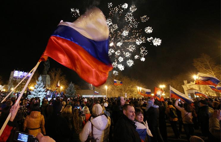 Crimeans celebrating after the referendum