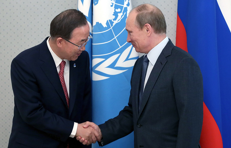 Secretary General of the United Nations Ban Ki-moon (L) and Russian President Vladimir Putin (R)