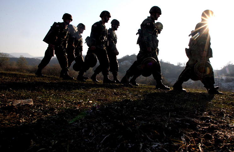 Georgian soldiers during a military exercise not far from the border with South Ossetia