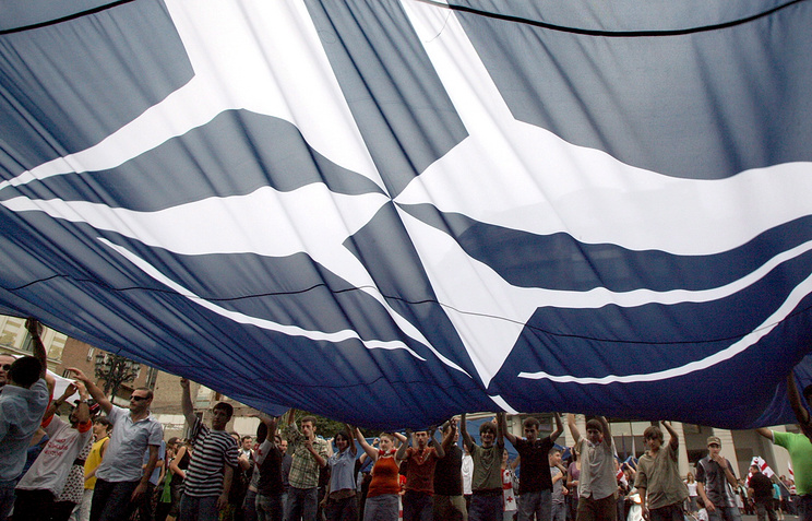 A NATO flag seen during protest in Georgia in 2008