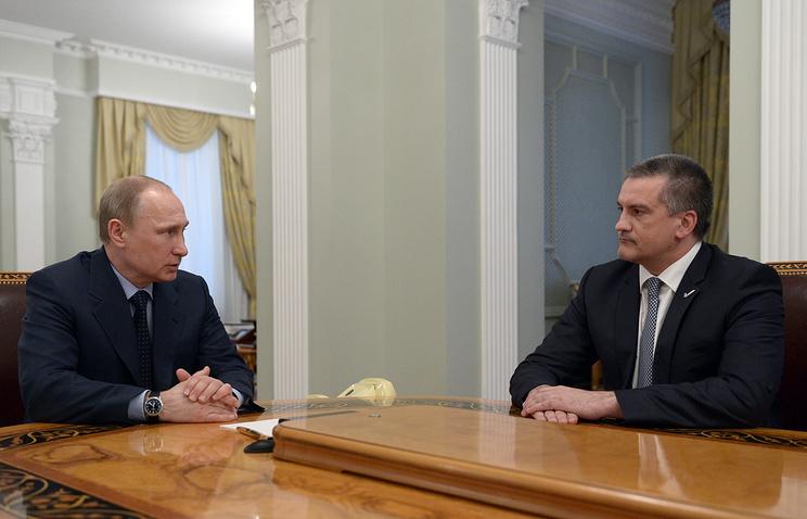 Valdimir Putin and  Sergey Aksyonov