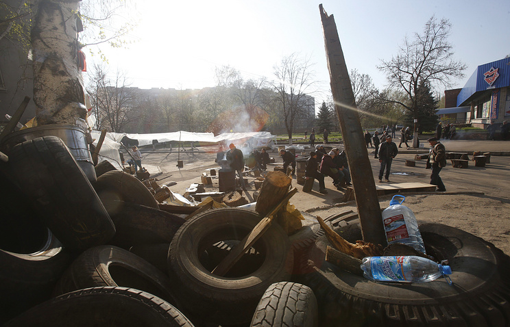 A barricade in Sloviansk