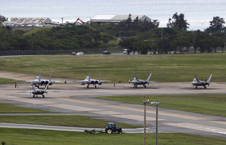 Fighter jets at Kadena Air Base in Japan