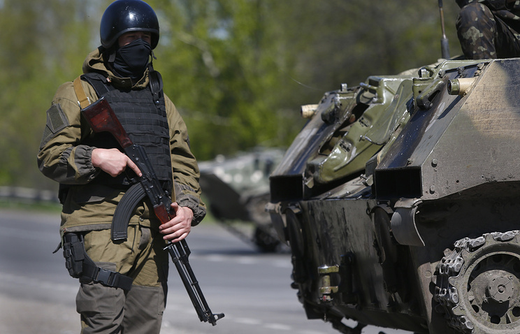 Soldier of the Ukrainian army near Sloviansk