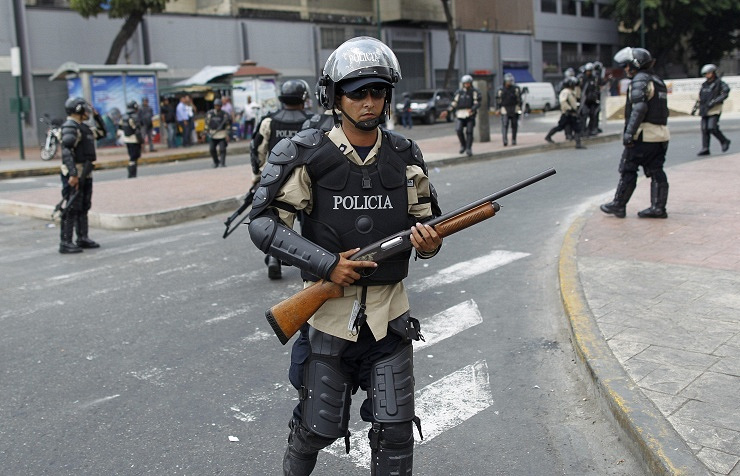 Policemen in the streets of Caracas