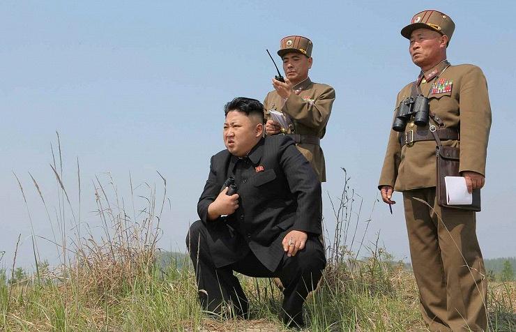 North Korean leader Kim Jong-un watches the drills