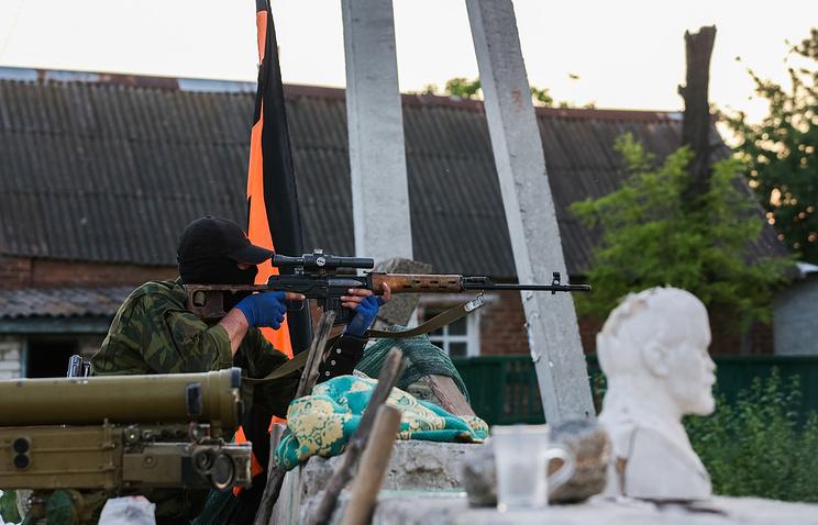 Militia checkpoint in Donetsk region