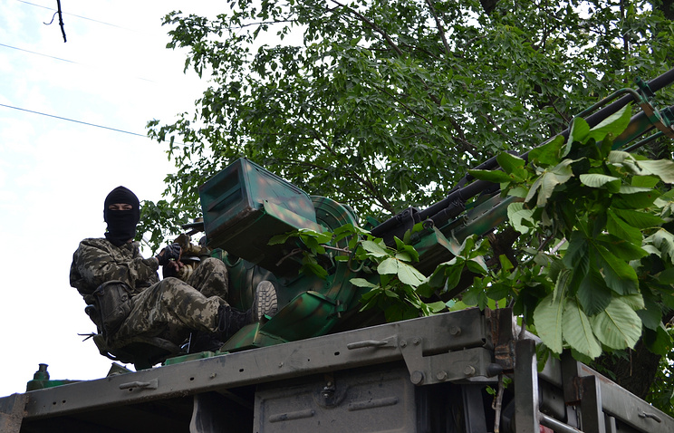 A militia fighter on his position in Sloviansk