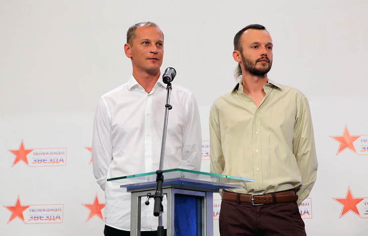 Cameraman Andrei Sushenkov and TV correspondent Anton Malyshev