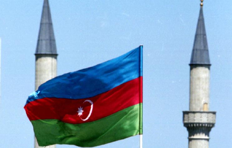 National flag of Azerbaijan seen in Beku