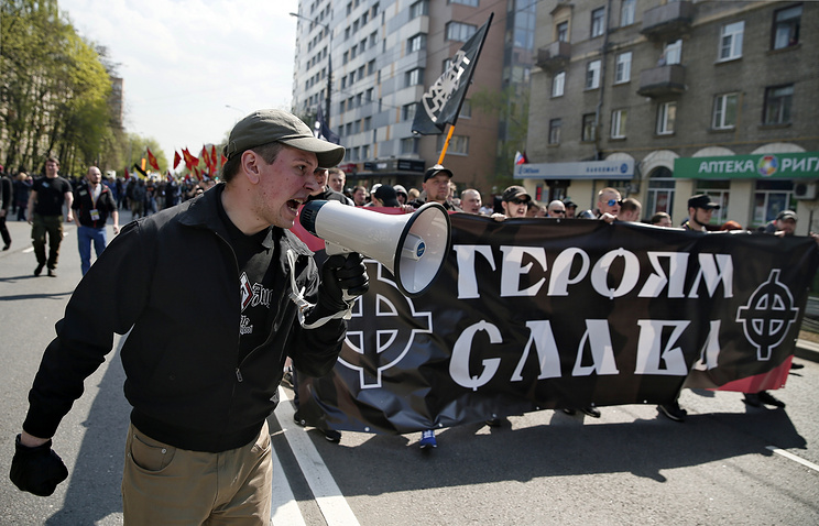 Nationalists march in Moscow, May 2014