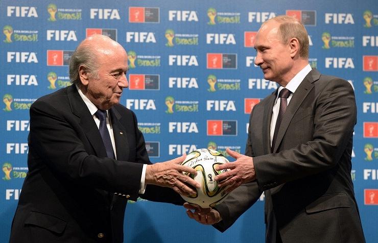 FIFA President Joseph Blatter (L) and Russian President Vladimir Putin (R)