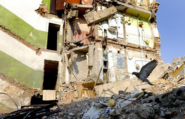 A destroyed blockhouse in the city of Snezhnoye