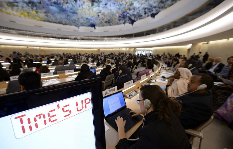 A general view of the assembly hall during the Human Rights Council