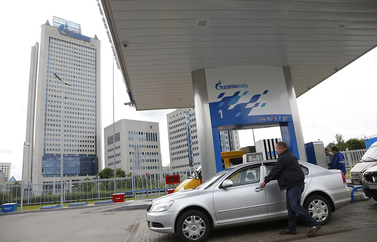 A petrol station in front of the Gazprom headquarters