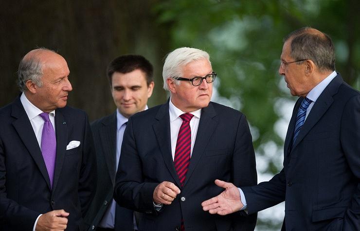 Laurent Fabius, Pavlo Klimkin, Frank-Walter Steinmeier and Sergei Lavrov