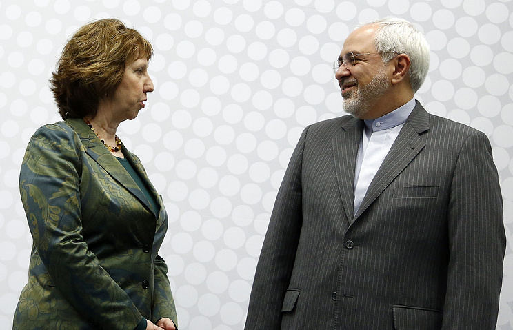 Iranian Foreign Minister Mohammad Javad Zarif and EU High Representative for Foreign Affairs and Security Policy Catherine Ashton
