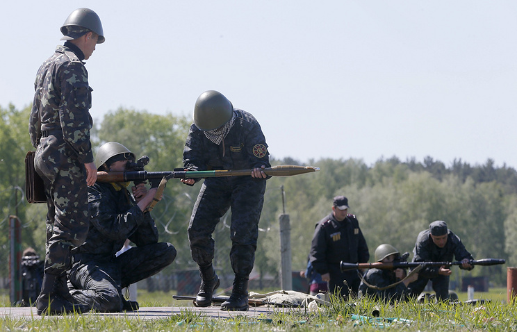 A training session of the Ukrainian National near Kiev in May