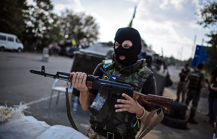A Ukrainian army soldier seen in eastern Donetsk Region