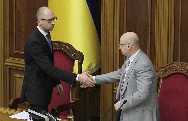 Ukrainian Prime Minister Arseniy Yatsenyuk and parliament's speaker Alexander Turchynov