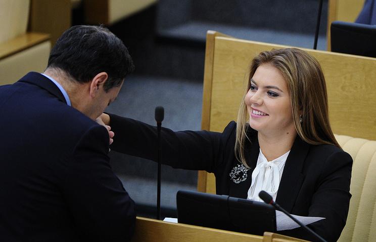 Alina Kabayeva (right) in the State Duma