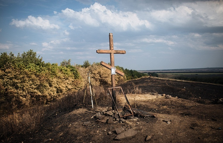 A cross seen in eastern Ukraine (archive)