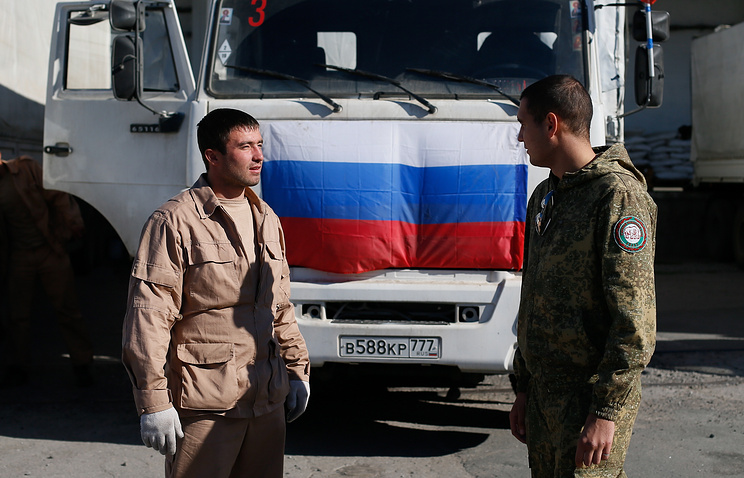 A truck with Russian relief aid for eastern Ukraine