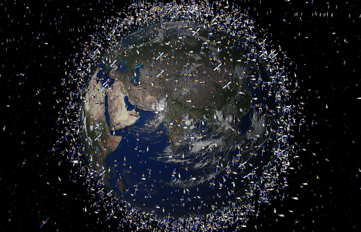 Computer generated image of objects in low-Earth orbit viewed over the Equator