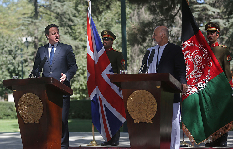 David Cameron and Ashraf Ghani Ahmadzai during a news conference in Kabul, Afghanistan