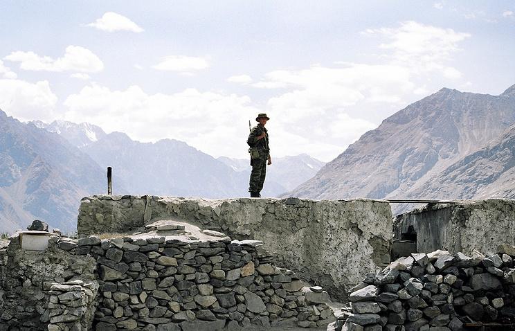 A border guard in Tajikistan