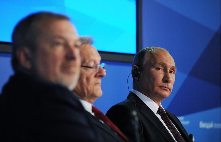 Russian President Vladimir Putin at a plenary session of the Valdai international discussion club