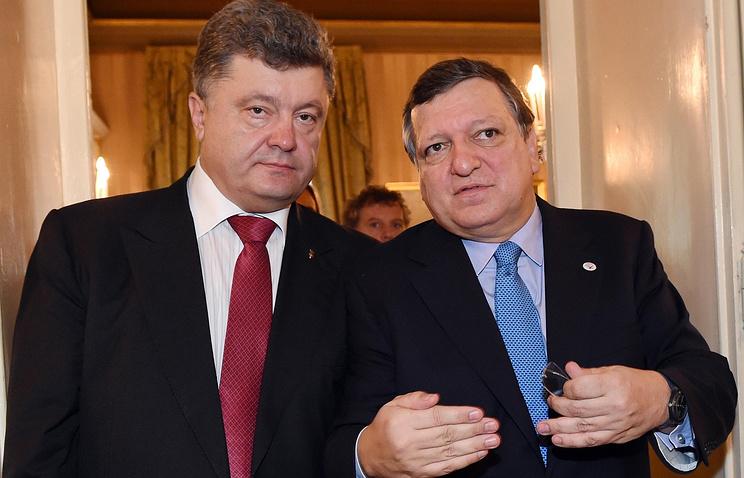 Ukrainian President Petro Poroshenko and  European Commission President Jose Manuel Barroso