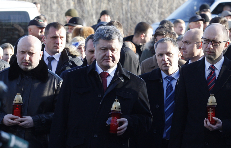 Left to right: Verkhovna Rada Speaker Oleksandr Turchynov, President Petro Poroshenko, PM Arseniy Yatsenyuk