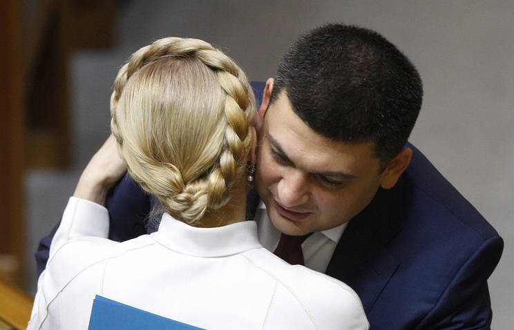 Batkivshchina party leader Yulia Timoshenko and Ukrainian Vice-Premier Vladimir Groisman