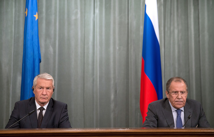 Council of Europe Secretary-General Thorbjorn Jagland and Russian Foreign Minister Sergey Lavrov