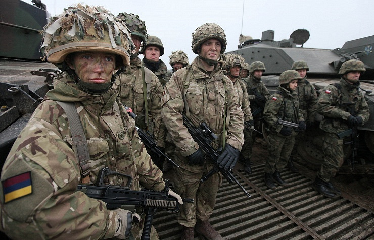 Polish and British soldiers during joint drills, November, 21, 2014, Poland