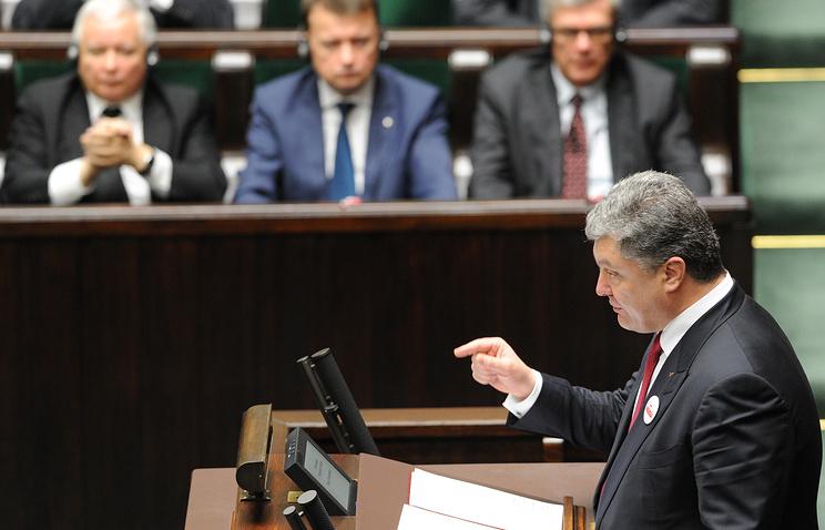 Ukrainian President Petro Poroshenko in Polish Sejm