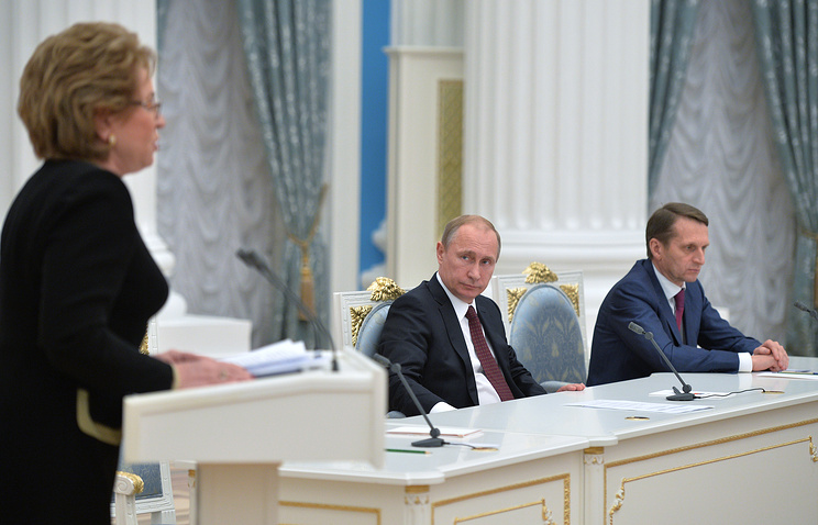 Valentina Matviyenko speaking at President Putin's meeting with representatives of both chambers of parliament