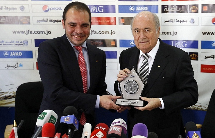 Ali Bin Al Hussein (on the left) and Joseph Blatter