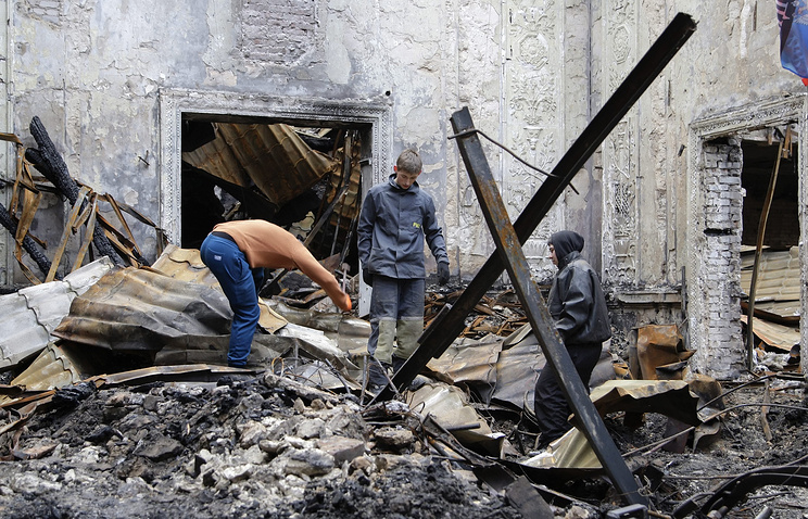 Damaged Cultural House after shelling in Donetsk, Ukraine