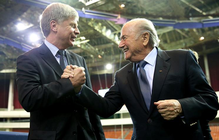 Russia Football Union president Nikolay Tolstykh and  FIFA president Joseph Blatter