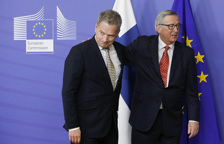 Finnish President Sauli Niinisto and President of the European Commission Jean-Claude Juncker