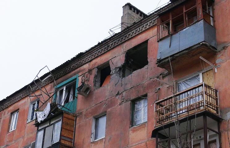 House damaged as a result of shelling in Gorlovka, Donetsk region