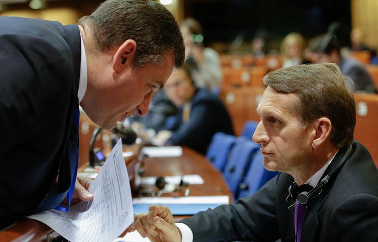 Russian PACE delegation members Leonid Slutsky and Sergey Naryshkin