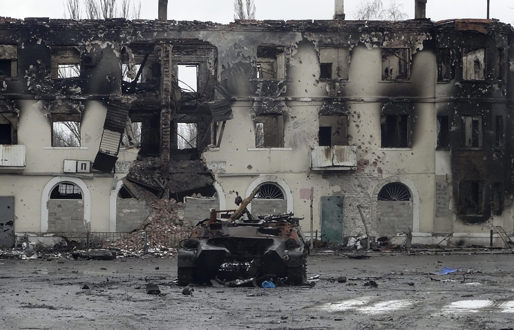 Aftermath of heavy fighting in the eastern Ukrainian city of Uglegorsk